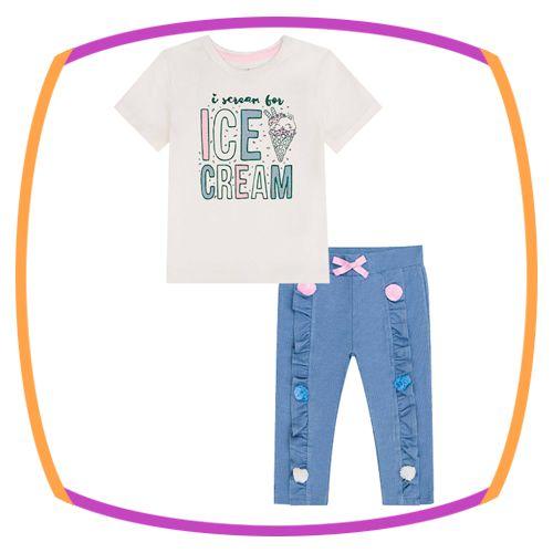 Conjunto para bebê Blusa em cotton estampa ICE CREAM e calça em malha dennin com aplicação de pom pom