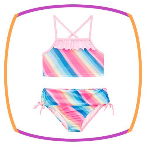 Biquini infantil em malha estampa arco iris com proteção UV Dry