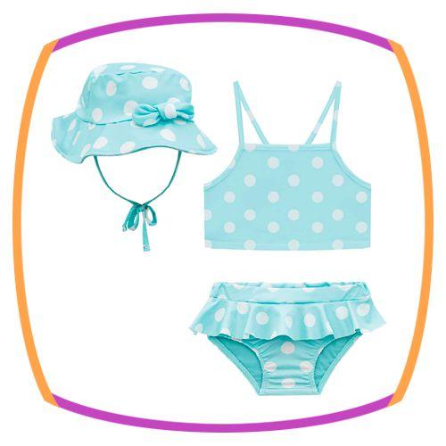Biquini para bebê e chapéu em malha com proteção UV DRY na cor verde estampa poá
