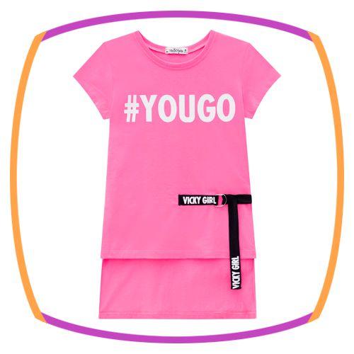Camiseta infantil em meia malha #YouGo - pink