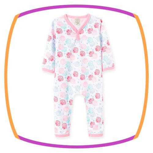 Pijama para bebê em macacão com malha penteada manga longa estampa conchas
