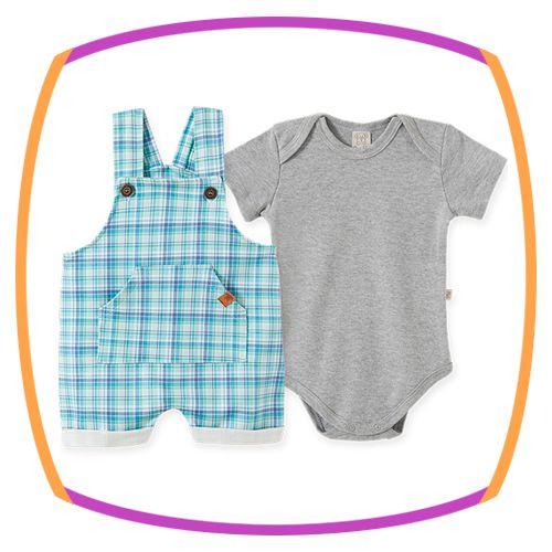 Jardineira para bebê em malha confort XADREZ e body em suedine