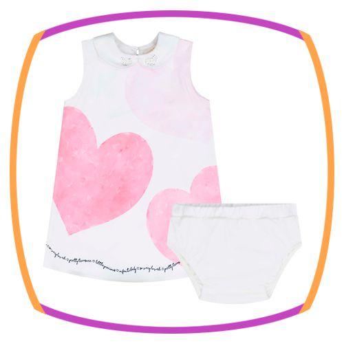 Vestido para bebe regata com estampa de coração (acompanha calcinha)