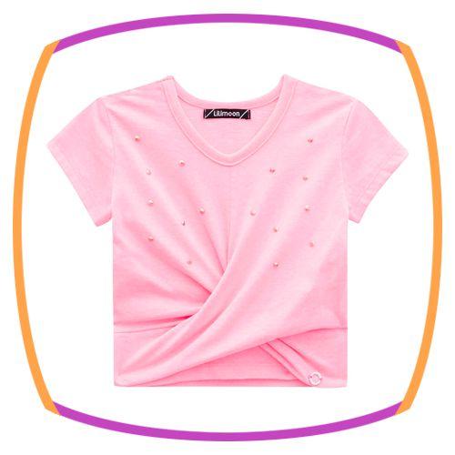 Blusa Manga Curta com pedras aplicadas na cor rosa neon