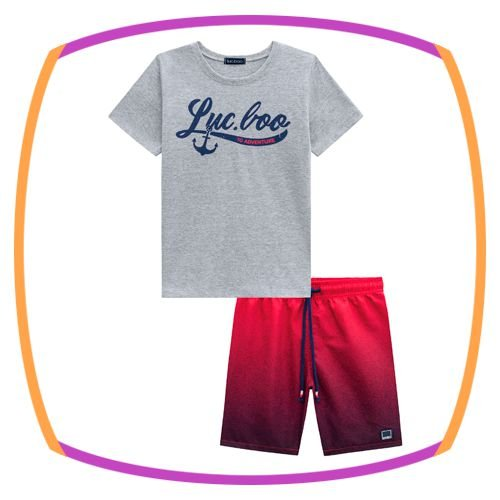 Conjunto infantil blusa em meia malha na cor cinza e bermuda em fly tech na cor vermelha