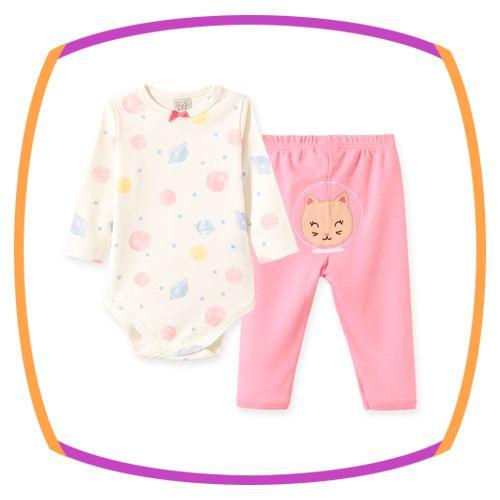 Conjunto para bebe em suedine e estampa Planetas e calça em suedine e bordado na cor rosa