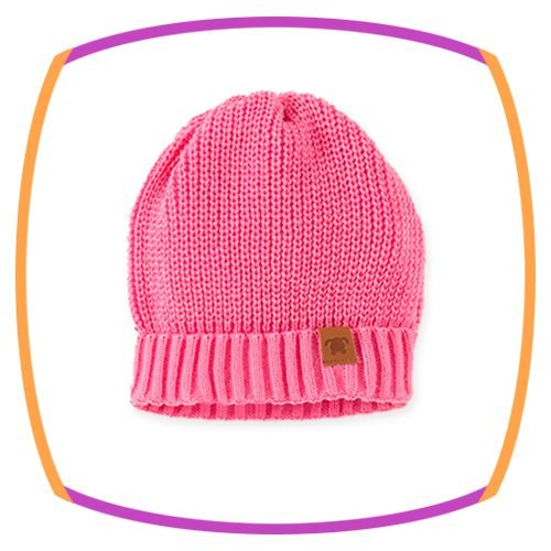 Gorro para bebê em tricot na cor rosa
