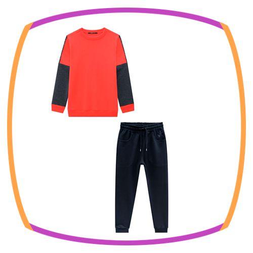 Conjunto infantil Blusão em moleton  e Calça Jogger em Moleton