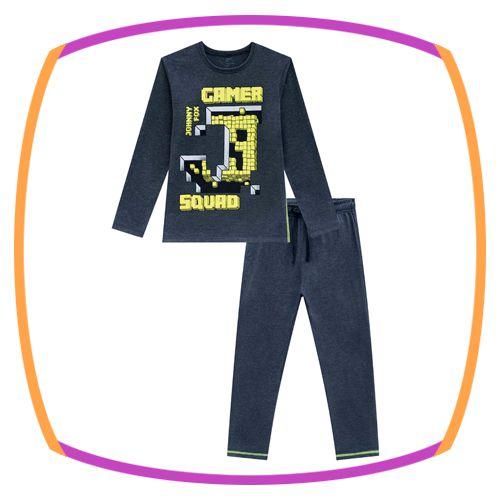 Pijama infantil de camiseta e calça em meia malha GAMER
