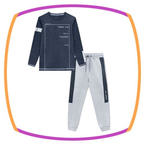 Conjunto infantil de camiseta com gorro e calça em moleton