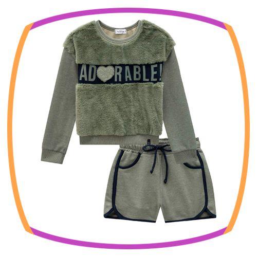 Conjunto Infantil Blusão em pelo ADORABLE e Shorts em Moleton com pelucia