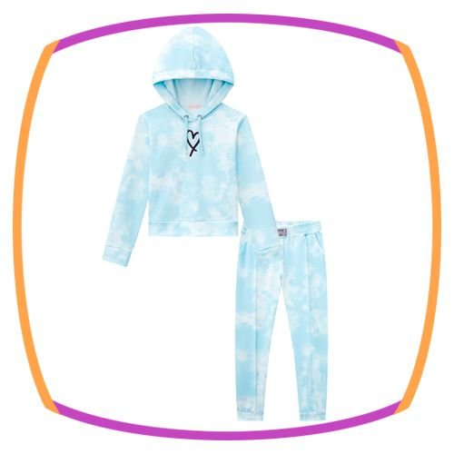 Conjunto infantil blusão Boxy e jogger em molecotton tie dye