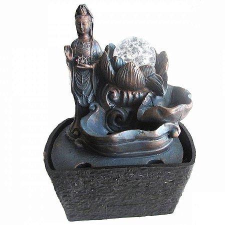 Fonte De Água Kuan Yin com Esfera em Resina (18cm)
