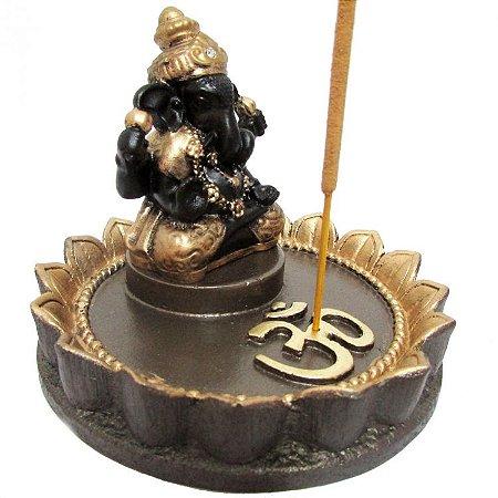 Incensário Ganesha Flor de Lótus em Resina (10cm)
