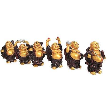 Jogo de 6 Budas em Pé G 7cm Buda em Resina