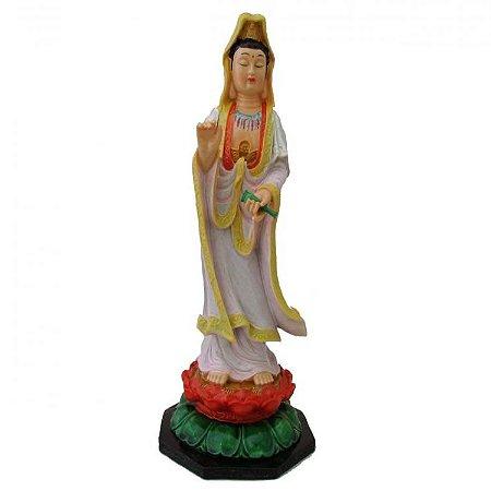 Deusa Kuan Yin Rosa Grande em Resina (27cm)