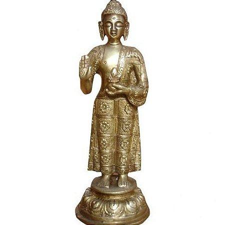 Estátua Indiana Buda em Pé em Bronze (20cm)