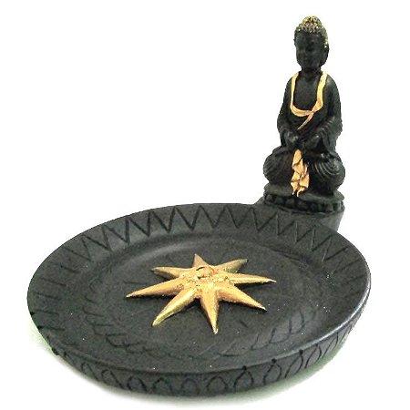 Incensário Artesanal Prato com Buda (12cm)