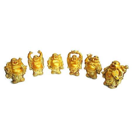 Conjunto com 6 Budas em Pé Dourado (6cm)