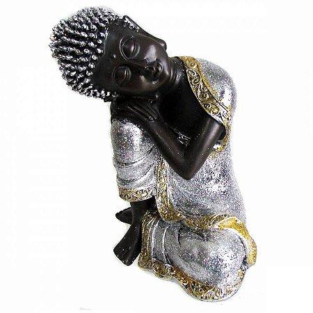Buda Tibetano de Resina Prata com Glitter (22cm)