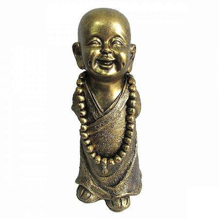 Monge Dourado em Pé com Colar (30cm)