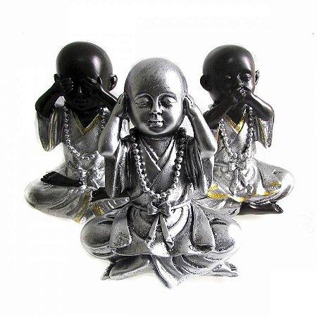 Trio de Monges Prata Não Vejo, Não Ouço, Não Falo (17cm)