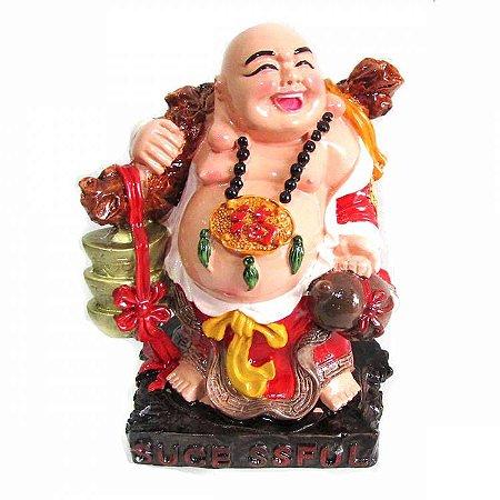 Buda da Alegria Vermelho em Resina (13cm)