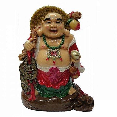 Buda da Fortuna com Três Moedas (15cm)