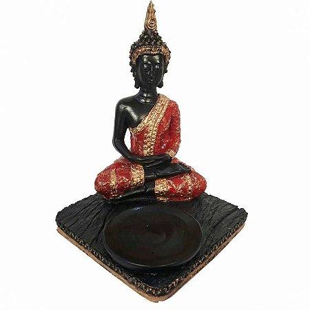 Buda Tibetano Vermelho 3 em 1 (Incensário, Porta Vela e Estátua)