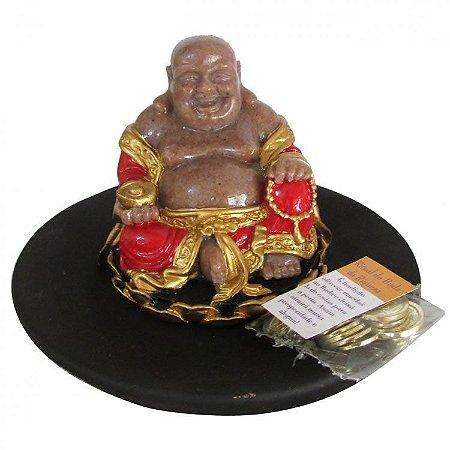 Buda Ritual da Riqueza com Moedas Feng Shui (14cm)