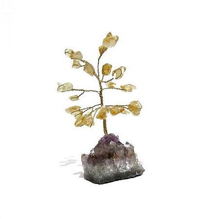 Árvore de Cristal Citrino com Base em Ametista Bruta (10cm)