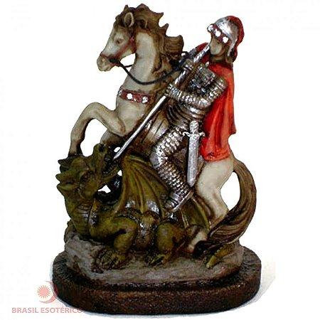 Estátua São Jorge com Cristais 15cm Estátua em Resina