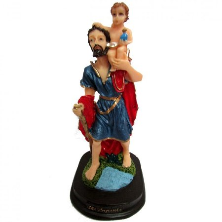 Estátua São Cristóvão em Resina (15cm)