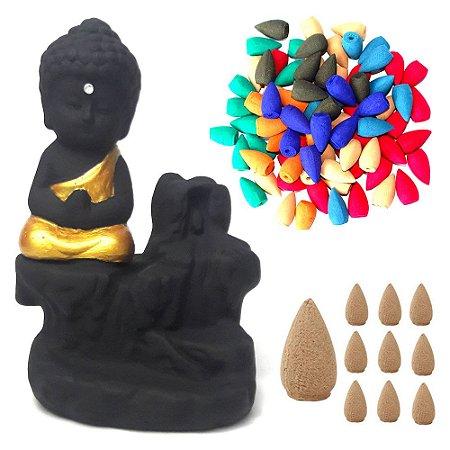 Incensário Cascata com Monge da Gratidão + 50 Incensos Cone