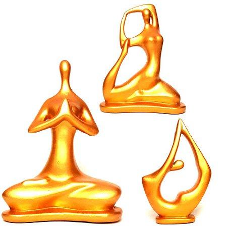 Trio de Yoga Posições Flor de Lótus, Pombo e Arco (21cm)