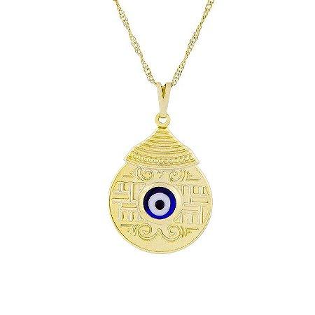 Gargantilha Mandala Egípcia com Olho Grego (25mm)