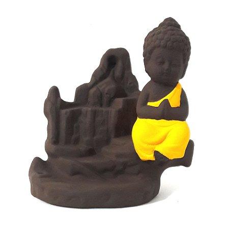 Incensário Cascata com Monge da Gratidão + GRÁTIS 5 Incensos Backflow