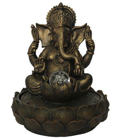 Fonte de Água Ganesha com Flor de Lótus Grande (37cm)