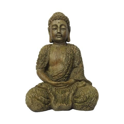 Buda com Efeito Madeira em Resina Grande (36cm)