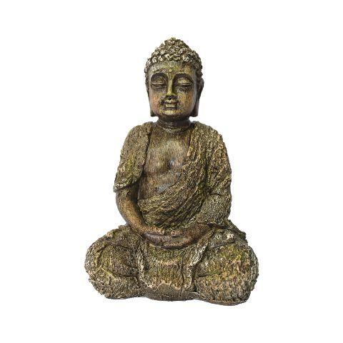 Buda com Efeito Madeira em Resina Pequeno (23cm)