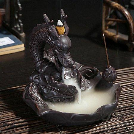 Incensário Dragão Guardião Cascata de Fumaça + 5 Incensos