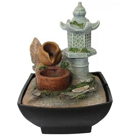 Fonte de Água Torre Chinesa com Pote