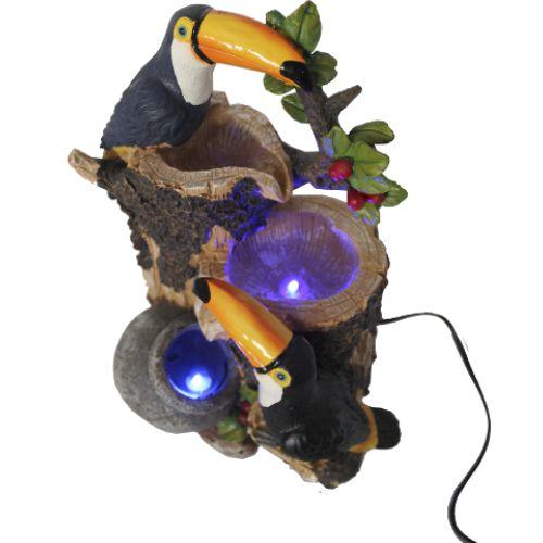 Fonte de Água com Árvore e Dois Tucanos com Luz LED (30cm)