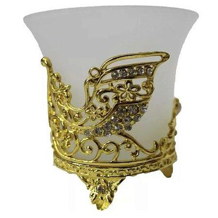 Porta Vela Carruagem em Vidro (Dourado)