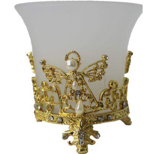 Porta Vela Anjo em Vidro (Dourado)
