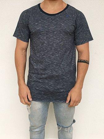 T-shirt Longline Raglan Azul Mescla