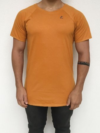 Camiseta Longline Raglan Mostarda