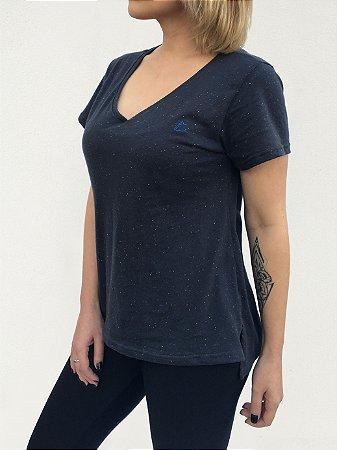 T-shirt Feminino Azul de Bolinhas