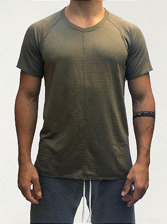 Camiseta Longline Dupla Face Verde e Listrado