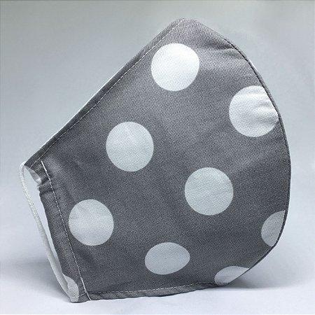Máscara de Tecido Bico de Pato Cinza de Poá Branco - Modelo CT